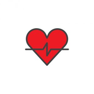 Heart cardiogram filled outline icon, line vector sign, linear c